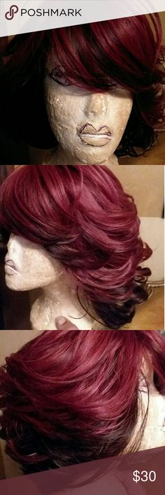 New wig by MOTOWN TRESS COLLECTION This wig is a beautiful wine and a mixture of black has half bang in front and layered in back. Length only to neckline but very bouncy and has high temperature fiber up  to 400 F.  Comes with box MOTOWN TRESS Accessories Hair Accessories