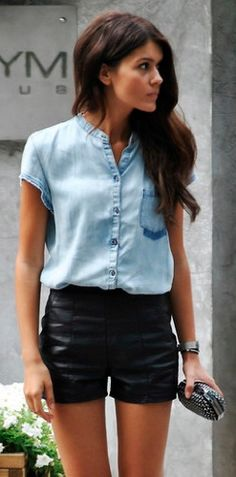 Black leather shorts, denim top, cute beaded clutch