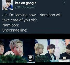 "Namjoon; ""you better be joking."" Shooknae line (); ""oohhh, lets fuck shit up!"""
