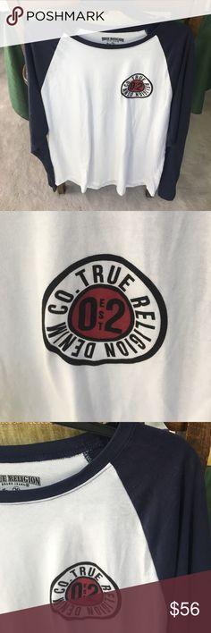 NWT True Religion est 02 tr LS raglan tee NWT True Religion EST TR LS RAGLAN TEE. Style#M4O8W86EFJ. Color: white/True navy. Mens large. Made in El Salvador. 100% cotton. Happy poshing☺️✌️ True Religion Shirts Tees - Long Sleeve