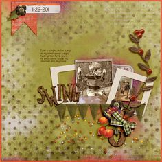 Swing - A digital scrapbook page by Diane.  The digital scrapbooking layout is made using digital scrapbooking kit(s) designed by Amy Wolff, sold at The Lilypad: Eleven: Papers, Elements, Alpha
