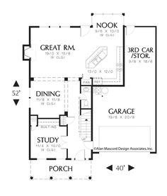 Main Floor Plan of Mascord Plan 2164 - The Somersetter - Classic Colonial Plan with Covered Front Porch