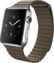 Apple Apple - Apple Watch (first-generation) 42mm Stainless Steel Case - Light Brown Leather Loop - Medium Brown MJ402LL/A - Best Buy
