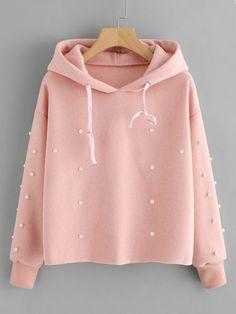 Pearl Beaded Drawstring Hoodie -SheIn(Sheinside) Pink pullover. Women s. -  Plenty ca56b9bb1b