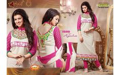 Sandal Colored Cotton Unstitched Salwar-1406  Sandal Colored Cotton Emb work and High Neck EMB F/s Semi Stitched Top and Pink Colored Cotton Pant with Double Colored Chiffon Dupatta