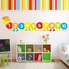 Counting Caterpillar Wall Sticker Childrens Wall Decal Baby Nursery Home Decor available in 8 Sizes Small Digital * Learn more by visiting the image link-affiliate link. Kindergarten Classroom Decor, Preschool Decor, Toddler Classroom, Classroom Walls, Childrens Wall Decals, Nursery Wall Decals, Kids Homework Station, Baby Room Wall Decor, Baby Decor
