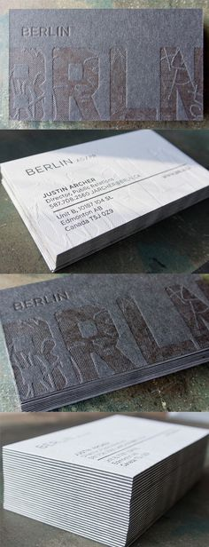 Unique Textured Letterpress Business Card Design
