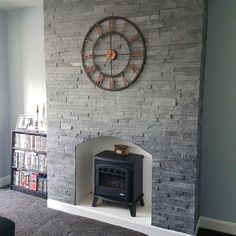 Latest Screen Stone Fireplace with wood storage Thoughts Silver Grey – Large Split Face Mosaic Wall Tiles – large. Tiled Fireplace Wall, Grey Stone Fireplace, Living Room With Fireplace, Bathroom Fireplace, Wood Fireplace, Kitchen Feature Wall, Feature Wall Living Room, Tiled Wall Living Room, Living Roon