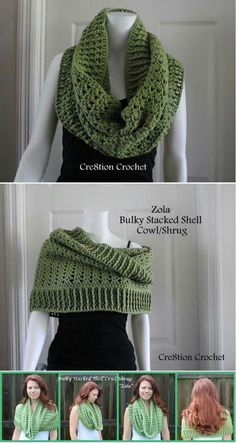 The versatile crochet cowl - it can be worn as a regular cowl, a hooded cowl or even as a shrug! Awesome now I just need to learn how to crochet. Shawl Crochet, Col Crochet, Crochet Gratis, Knit Or Crochet, Crochet Scarves, Crochet Clothes, Crochet Stitches, Free Crochet, Crochet Patterns