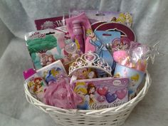 Disney Princess Gift Basket sold by Connie's Creations on Storenvy Theme Baskets, Girl Gift Baskets, Themed Gift Baskets, Raffle Baskets, Gift Baskets For Kids, Basket Gift, Disney Princess Gifts, Disney Gift, Baby Easter Basket