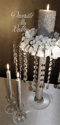 Great wedding decorations for your crystal wedding theme. Wedding Reception Design, Gold Wedding, Diy Wedding, Wedding Gifts, Wedding Flowers, Wedding Ideas, Crystal Wedding, Sand Candles, Wedding Unity Candles