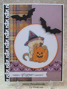 Savvy Handmade Cards: Happy Meow-oween Card | Newton's Perfect Pumpkin stamp set by Newton's Nook Designs #newtonsnook