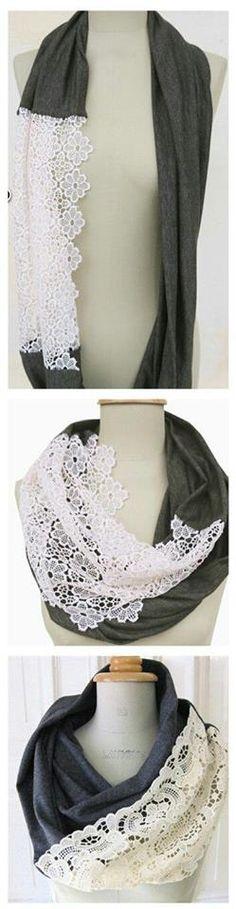 ajout de dentelle sur un foulard