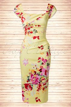 The Pretty Dress Company Cara Seville Lemon Yellow Pencil Dress 100 89 15358 20150214 1TopVintage FB