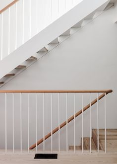 Photo 6 of 13 in Artist Tom Adair's Overhauled Cottage in Melbourne Is an Ideal Backdrop For His Work - Dwell Staircase Metal, House Staircase, Stair Handrail, Wood Stairs, Modern Staircase, Metal Railings, Railing Design, Staircase Design, Modern Railing