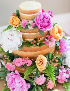 12 Peony-Inspired Wedding Ideas For The Prettiest Day Ever - Wilkie Blog! - Naked wedding cake with peony decor