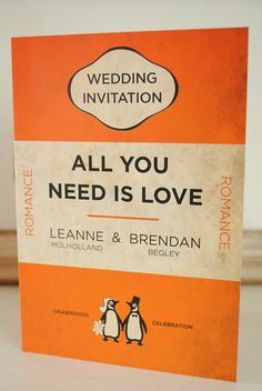 Penguin Books Classics Themed Retro Wedding invitation---so cute and clever! Perfect for book nerds like me.
