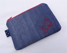 Hand-Stitched Bird Motif Upcycled Denim Pouch
