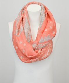 Coral & Gray Paisley Infinity Scarf by Leto Collection