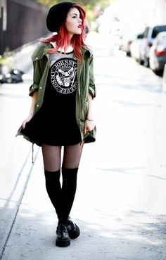 green parka + band tee + black skater skirt + knee highs