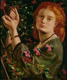 """Hanging the Mistletoe"" ainted by Dante Gabriel Rossetti, The Rossetti Archive states that the finished painting has the date ""Xmas 1860″ on the frame."