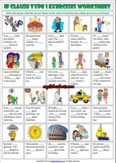 Conditionals Type 1 ESL Grammar Exercise Worksheet