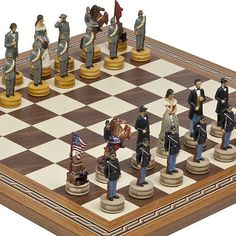 Hand Painted American Civil War Chessmen  Fulton Street Chess Board From Spain * Click image for more details.