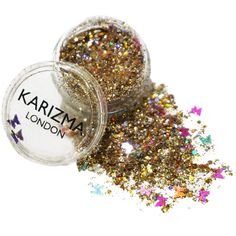 Gold Butterfly Chunky Glitter Face Body Nails Hair Festival Gems... (£5.30) ❤ liked on Polyvore featuring beauty products, makeup and beauty