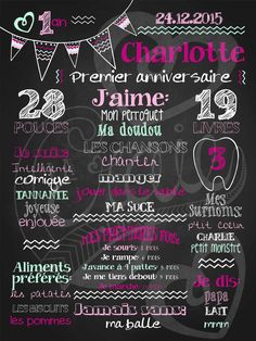 Affiche personnalisée 1er anniversaire Mignons fanions (fuschia) | 28,00$ #chalkboard #lacraieco Fete Emma, Baby Posters, Happy 1st Birthdays, First Day Of School, Birthday Fun, Little Princess, Kids And Parenting, Chalkboard, Invitations
