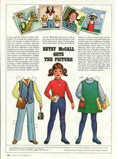 December 1981 Magazine Paper Doll Betsy McCall Gets the Picture* For lots of free paper dolls International Paper Doll Society #ArielleGabriel #ArtrA thanks to Pinterest paper doll collectors for sharing *