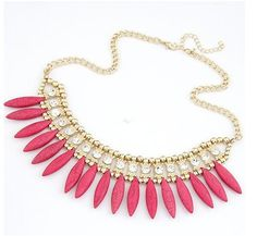 BOHO Style Pink Crystal Statement Necklace - Necklaces