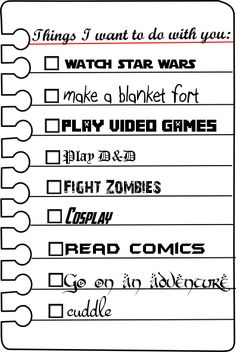 """A very romantic geek couple """"to do"""" list. If the relationship was serious though, they would add watch anime to the list. ^^"""