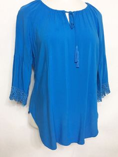 CABLE & GAUGE Womens Boho Blouse Size S / Blue Tassled Embroidered SS Shirt #CableGauge #Blouse #Casual