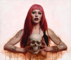 """Camila Rocha """"On these portraits (paintings and drawings), I strive to invite the viewer to watch a monolog as a spectator t. Long Pink Hair, Girl Face Drawing, Skeleton Art, Dark Fantasy Art, Skull And Bones, Camila, Skull Art, Amazing Art, Awesome"""
