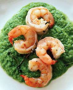 Olive-Oil-Poached Shrimp with Winter Pistou from Epicurious.com #myplate #protein #veggies