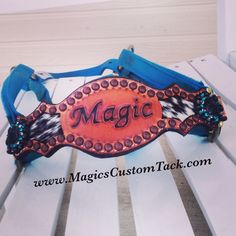 Magics Custom Tack Turquoise and black and white cowhide custom bling bronc halter with horse's name tooled into it.  Www.magicscustomtack.com
