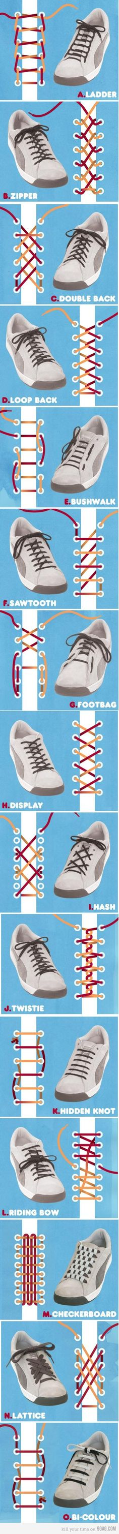 Different ways of tying shoe laces.