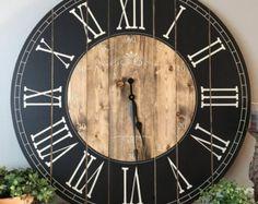 38 Inch Farmhouse Clock - Rustic Wall Clock - Large Wall Clock - Unique Wall Clock - Personalized Clock - Distressed Clock - Wooden Clock
