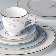 The flowers on this Rutledge Legacy dinnerware from Lenox are so delightfully delicate. Love the soft blue with the platinum accents.