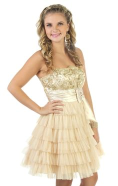 strapless gold sequin party dress with multi tiered skirt  <3
