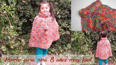 Poncho a crochet para niña 8 años ¡muy fácil! - Mi Rincón del Tejido Blouse, Tops, Videos, Women, Youtube, Fashion, Kids Punch, Weaving Kids, Moda