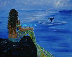 "Mermaid Ocean Beach Seascape Fantasy Magical Art ""Whale Watching"" Leslie Allen Fine Art"