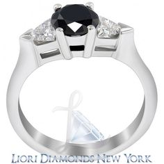 2.00 Carat Certified Natural Black Diamond Engagement Ring 14K White Gold - Black Diamond Engagement Rings - Engagement - Lioridiamonds.com