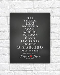 Anniversary Gift for Boyfriend, Husband, Spouse, Wife - 10 Year Anniversary Personalized Chalkboard Art, Time Together, Anniversery Date