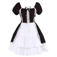 Partiss Women's Cotton Ruffle Vintage Cute Gothic Lolita Dress ❤ liked on Polyvore featuring dresses, cotton ruffle dress, vintage cotton dress, ruffle dresses, flouncy dress and frilly dresses
