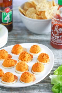 These fun and festive deviled eggs are the perfect appetizer for game day.