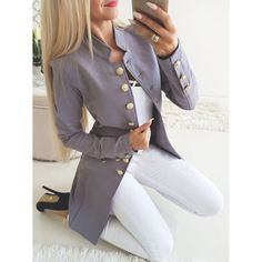 Mode Mantel, Casual Trends, Langer Mantel, Style Casual, Blazer Outfits, Casual Blazer, Gray Blazer, Blazer Buttons, Business Casual Attire