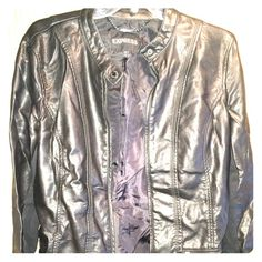Express Faux Leather Jacket Like new, all zippers function properly, no scratches on leather, button collar make this piece very versatile, and the zippered sleeves make it very comfortable to wear watches or bracelets. Express Jackets & Coats