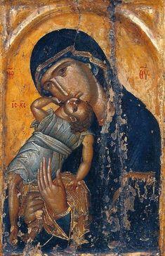 Sinai Icon of theTheotokos Pelagonitissa, century. Religious Icons, Religious Art, Verge, Byzantine Icons, Hail Mary, Madonna And Child, Art Icon, Orthodox Icons, 15th Century