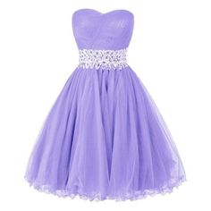 Ellames Sweetheart Homecoming Beading Short Prom Dresses Ball Gown ❤ liked on Polyvore featuring dresses, gowns, prom dresses, beaded evening gowns, short prom gowns, purple gown and purple dress